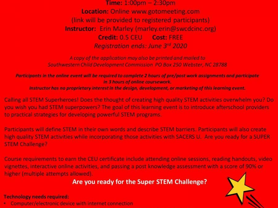 ONLINE- How to be a STEM Hero: Strategies for Developing Powerful STEM Activities in Afterschool