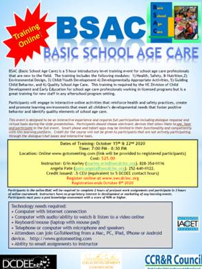 BSAC- Basic School Age Care- 2 Part Course Online with Instructor 'Live'- October 15 & 22, 2020