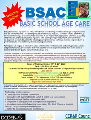 BSAC Basic School Age Care -2 Part Course Online with Instructor – 'Live' -October 19th & 26th, 2020 9:00 am-10:30am