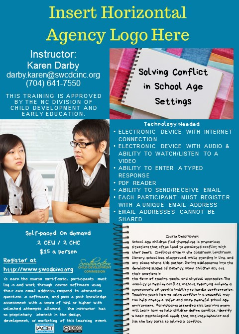 SWCD/CCRC –  Solving Conflict in School Age Settings – On Demand